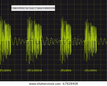 Pulsing schedule on the monitor. Vector illustration - stock vector