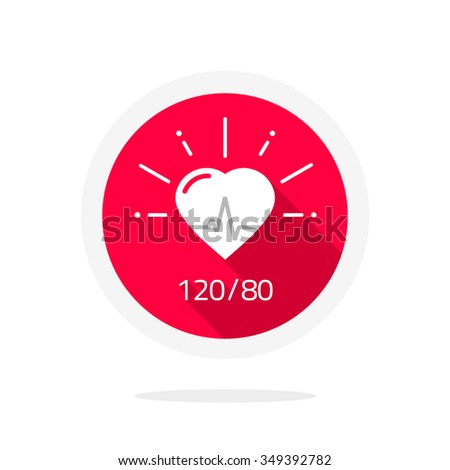 Pulsometer heart rate monitor watch vector icon flat, logo label, pictobagram badge, infographic element, health symbol, life line, blood pressure test tag cardiogram, medical pulse heartbeat, beating - stock vector