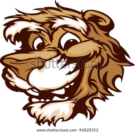 Puma Cougar Mascot with Cute Face Cartoon Vector Image