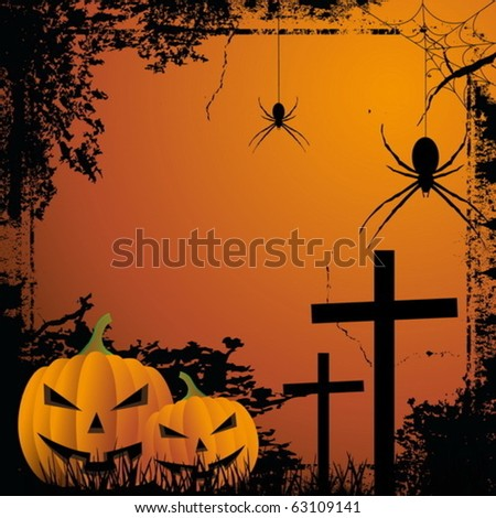 Pumkin and spider, halloween background