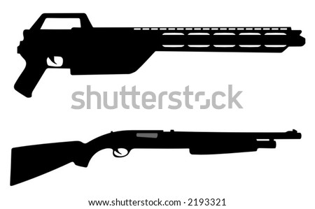pump action rifle and modern machine gun - vector illustrations - stock vector