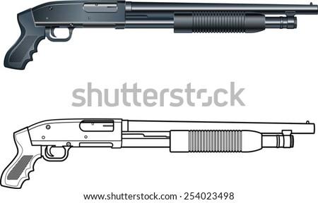 Pump Action Shotgun Pumpgun Stock Vector 254023498 ...