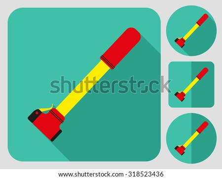 Pump icon. Bike accessories. Flat long shadow design. Bicycle icons series. - stock vector