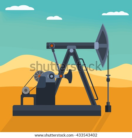Pump jack detailed flat style vector illustration. Working oil well  pump on the desert background. Industrial machine for extraction of petroleum. - stock vector