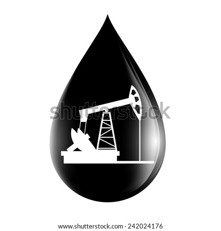pumpjack silhouette on a drop of oil - stock vector