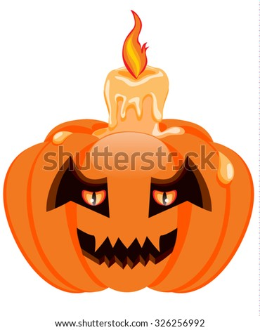 Pumpkin and candle for Halloween. Vector illustration - stock vector