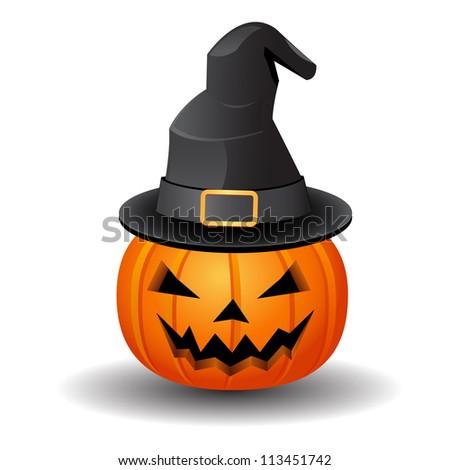 pumpkin and hat - stock vector