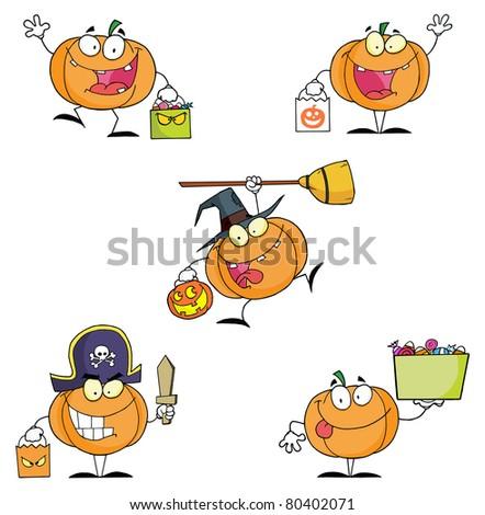 Pumpkin Cartoon Characters-Vector Collection - stock vector