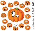 pumpkin cartoon with many expressions - stock vector
