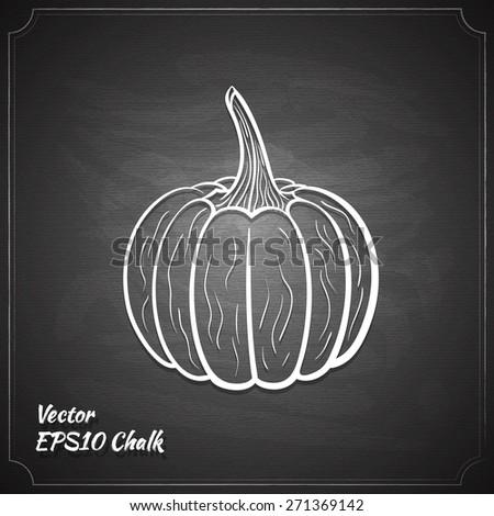 pumpkin chalk painted on chalkboard vector illustration - stock vector