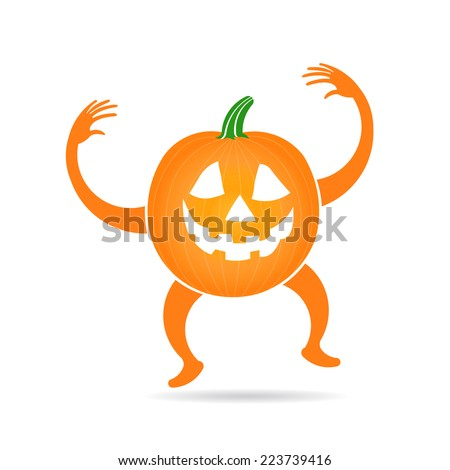 Pumpkin doing the boo expression with legs and arms. Vector design - stock vector