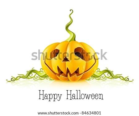 pumpkin for halloween on white background vector illustration - stock vector
