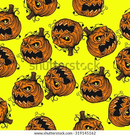 pumpkin head seamless pattern - stock vector