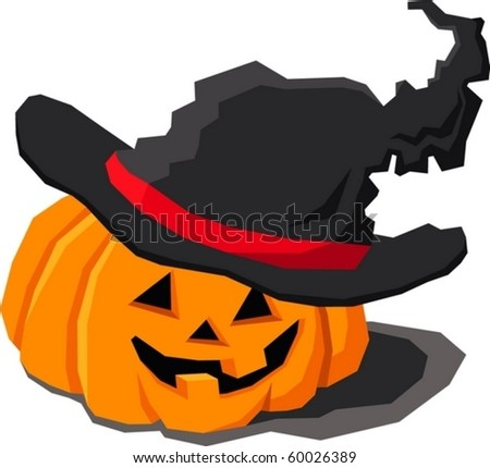 pumpkin in the hat - stock vector