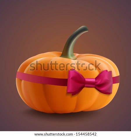 Pumpkin isolated with ribbon. Realistic vector illustration - stock vector