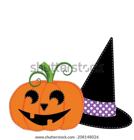 Pumpkin or jack o lantern and witches hat vector on transparent  background - stock vector