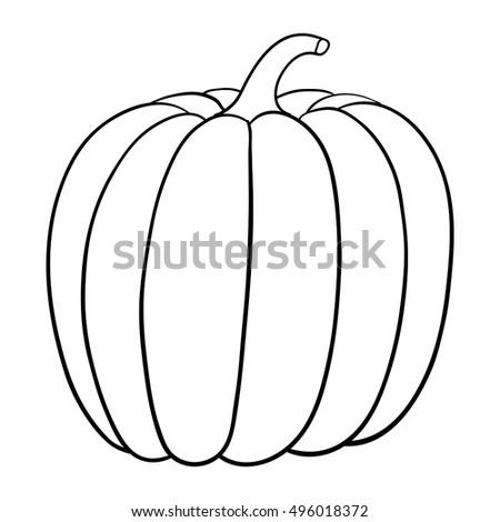 pumpkin outline vector illustration isolated on white background