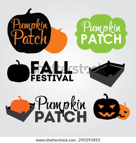 Pumpkin Patch design elements, label, emblems for banners or business cards