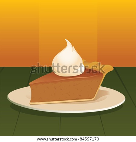 Pumpkin Pie with Whipped Cream - vector - stock vector