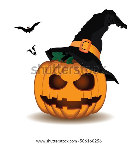 Pumpkin scary face wear hat and bat of Happy Halloween isolated on white background.