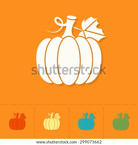 Pumpkin. Single Flat Autumn Icon . Simple and Minimalistic Style. Vector - stock vector
