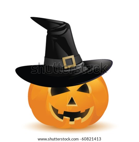 pumpkin with hat - stock vector