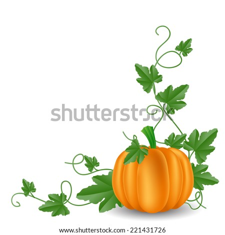 Pumpkin with leaves corner decoration - stock vector