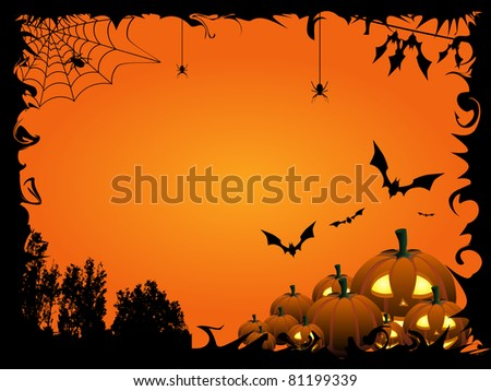 Pumpkins, bats and spiders on the orange Halloween background - check out my animation with this illustration: http://goo.gl/BBKpj 9 - stock vector