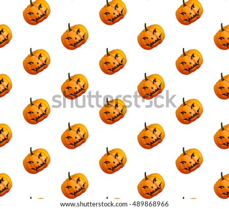 Pumpkins for Halloween seamless pattern background. Vector Illustration