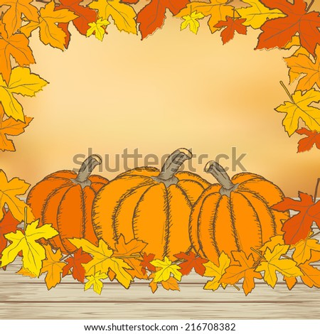 Pumpkins on wooden background with leaves. Autumn background. Mesh background. Vector.