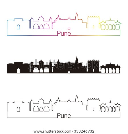 Pune skyline linear style with rainbow in editable vector file - stock vector
