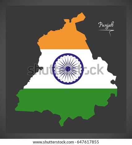 Punjab Map Indian National Flag Illustration Stock Vector Royalty