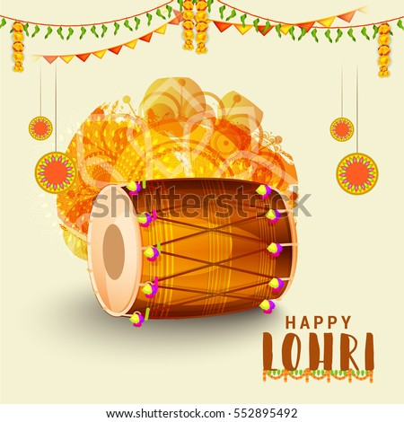 Punjabi culture stock images royalty free images vectors punjabi festival of lohri celebration background with decorated drum malvernweather Choice Image