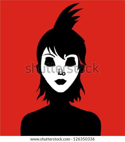 Punk girl - stock vector