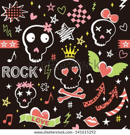 Punk girlish doodles with seamless pattern in vector - stock vector