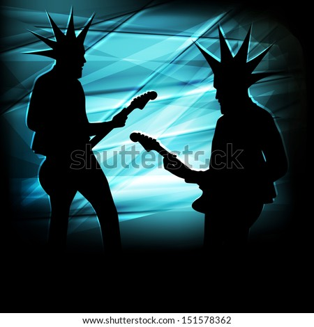 Punk guitar player vector abstract background concept - stock vector