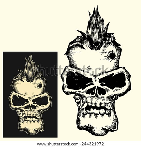 Punk head skull in dark and inverted color isolated  - stock vector