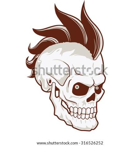 Punk skull with mohawk on head. black white version - stock vector