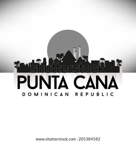Punta Cana Dominican Republic, Black Skyline Design, vector illustration. Typographic city silhouette - stock vector