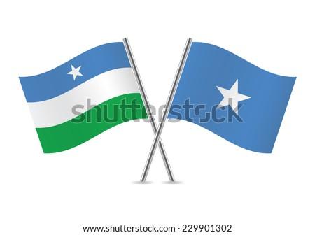 Puntland and Somalia flags. Vector illustration. - stock vector