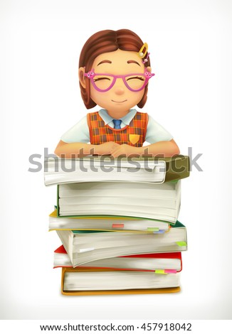 Pupil and school textbooks. Little girl cartoon character. Vector icon