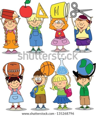 Pupils hold school things - stock vector