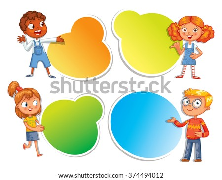 Pupils pointing at a poster. Ready for your message. Colorful template for advertising brochure with a cute happy kid. Funny cartoon character. Vector illustration. Isolated on white background - stock vector