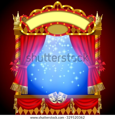 Puppet show booth with theater masks, red curtain, illuminated signboards and blue light inside. Vector Illustration - stock vector