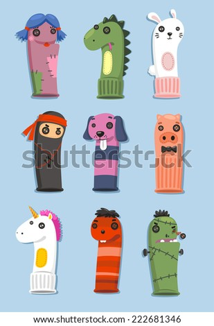 Puppets made of socks Set with nine different cute puppets in different shape and colors vector illustration cartoon - stock vector