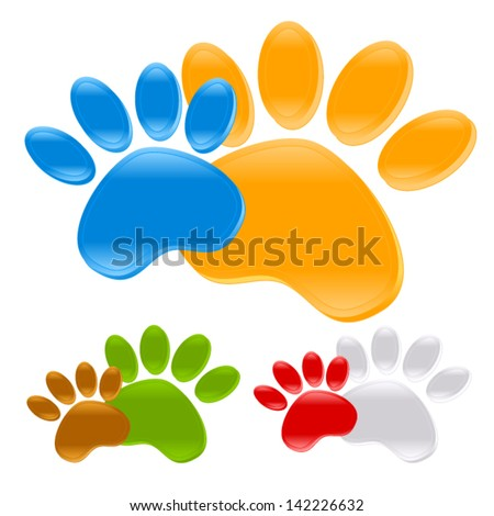 Puppy Paw prints - dog toe trails, pet symbols, icons, identify signs - stock vector