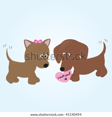 pups in love - stock vector