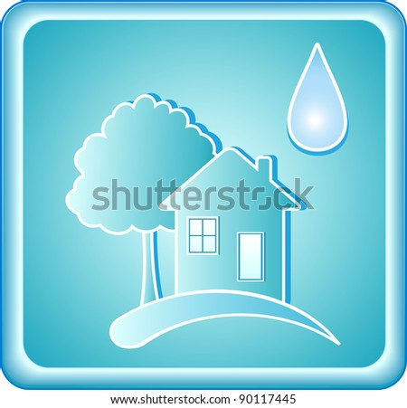pure blue water sign with house tree and drop - stock vector