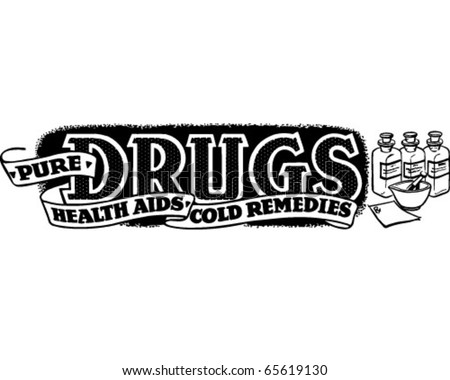 Pure Drugs, Health Aids - Ad Banner - Retro Clipart - stock vector