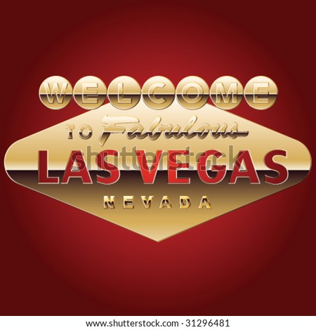 Pure gold Las vegas welcome sign - stock vector